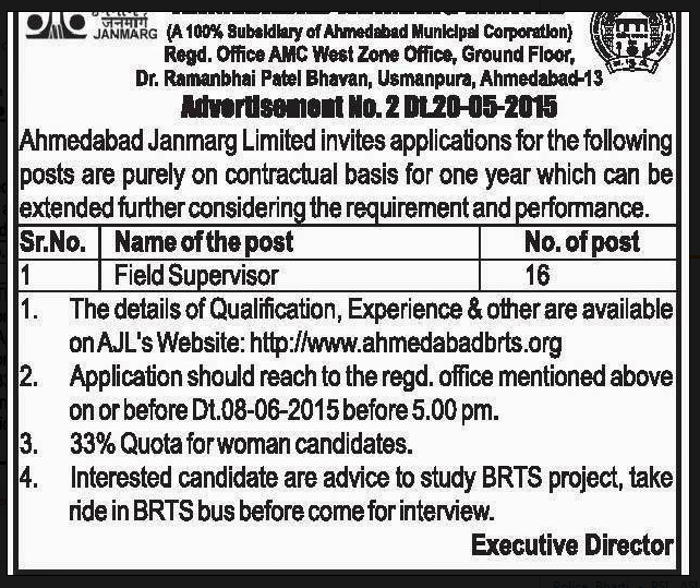 BRTS Recruitment 2015