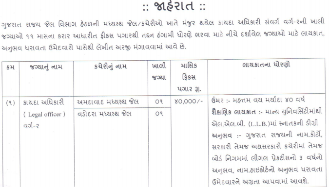 Additional Director General of Police and Inspector General of Prisons (Gujarat Police) Jail Department recruitment 2016