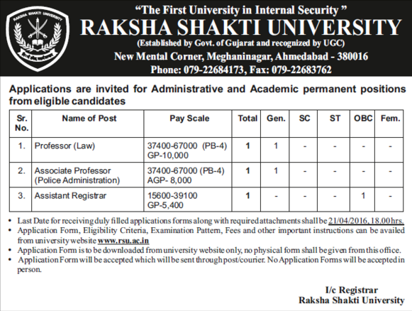 Raksha Shakti University Recruitment 2016