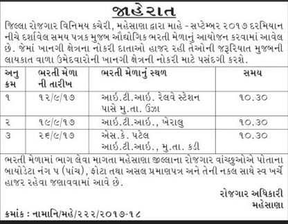 Job Fair – Rozgaar Bharti Mela Mehsana Recruitment 2017
