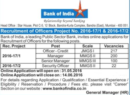 bank of India various Recruitment 2016
