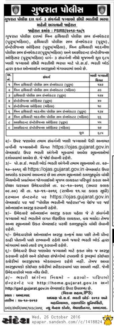 Gujarat Police 685 PSI ASI Recruitment 2016