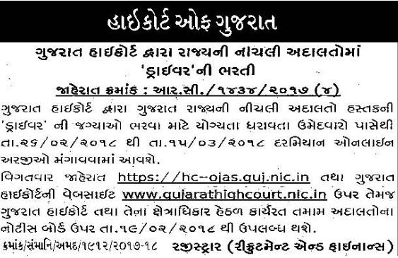 High Court of Gujarat Driver bharti 2018